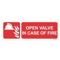 Open Valve in Case of Fire Sign