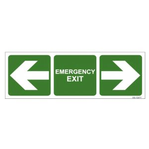 Emergency Exit with Both side arrow Sign